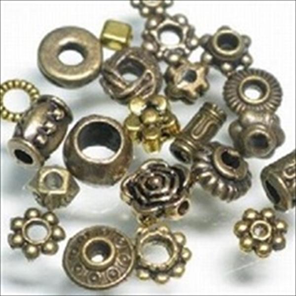 メタルビーズ。素材は亜鉛合金に真鍮メッキを施したものです。